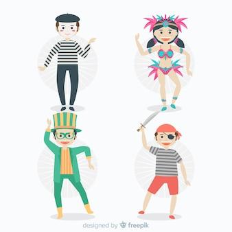 カーニバルのキャラクターが衣装を着て