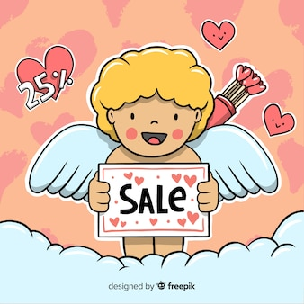 Улыбающийся амур валентина продажи фон