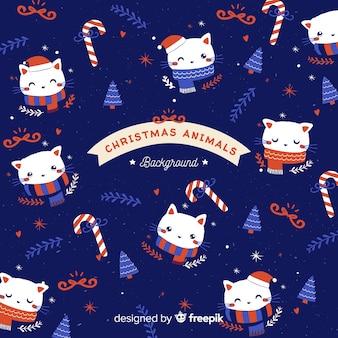 クリスマスの動物パターン