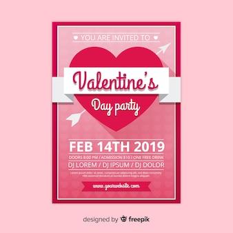 リボン、バレンタイン、パーティー、ポスター、テンプレート