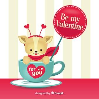犬、カップ、バレンタイン、背景