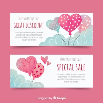 水彩の風船バレンタインの販売のバナー