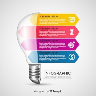 インフォグラフィックのリアルな電球