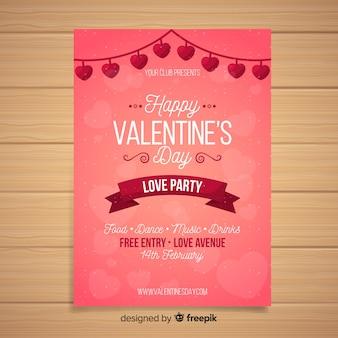 ハートガーランドバレンタインパーティーポスター