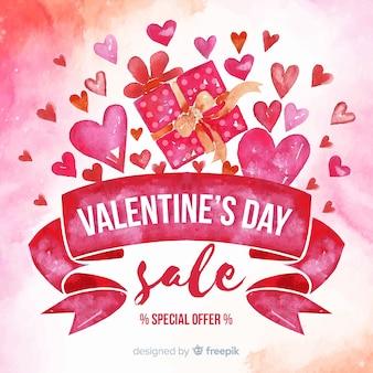水彩リボンのバレンタインの販売の背景