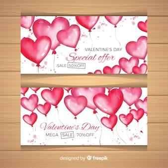 水彩の風船のバレンタインの販売のバナー