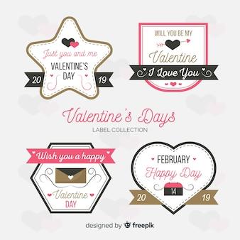 平らなバレンタインラベルコレクション