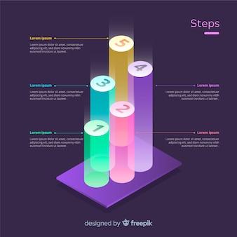 等尺性のインフォグラフィックステップの概念