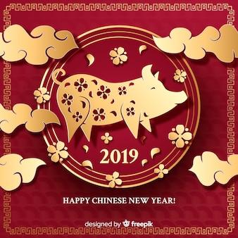 黄金の豚の中国の新年の背景