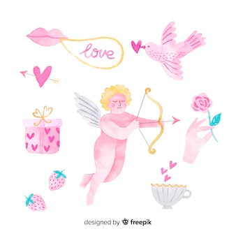 水彩バレンタインキューピッドコレクション