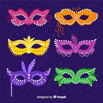 Коллекция рисованной карнавальной маски