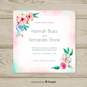 水彩花のウェディングカードテンプレート