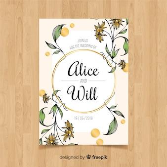 Ручной обращается цветочный шаблон свадебной открытки
