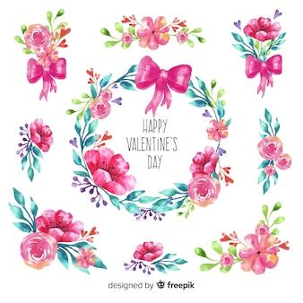 水彩花バレンタイン背景