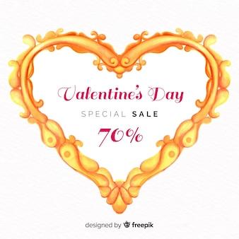 Золотая рамка сердце валентина продажа фон