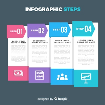 フラットスタイルのインフォグラフィックステップの概念