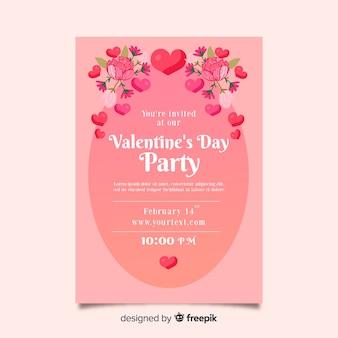 花飾りバレンタインパーティーのポスター