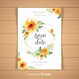 Акварель цветочные свадебные карточки шаблон
