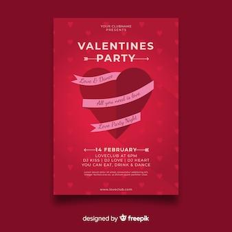 リボンバレンタインパーティーのポスターと心