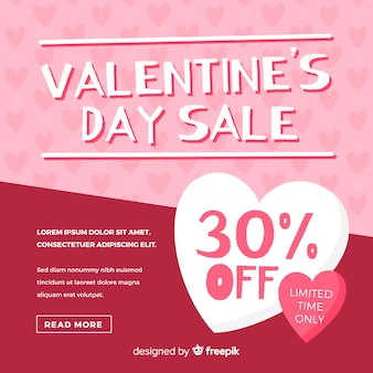 平らなバレンタインデーの販売の背景