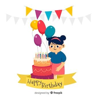 手描きの女の子の誕生日の背景