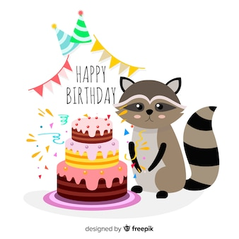 手描きのアライグマの誕生日の背景