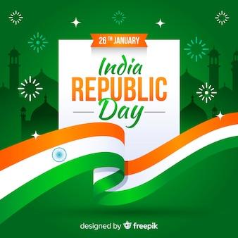 Празднование дня республики с индийским флагом