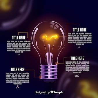 Инфографика реалистичный фон лампочки