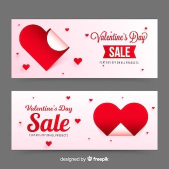 紙のスタイルでバレンタインセールバナー