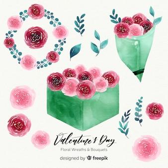 Акварель ко дню святого валентина цветочные венки и букеты