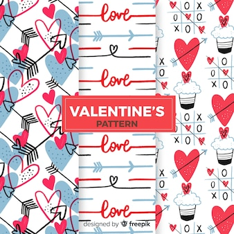 心とカップケーキバレンタインパターンコレクション