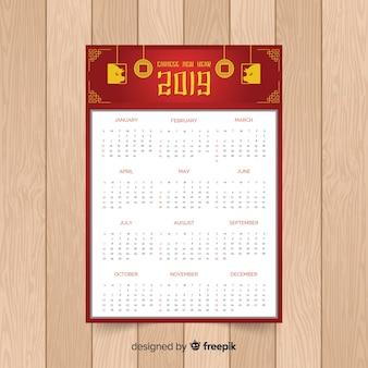 豚と中国の新年のお祝いカレンダー