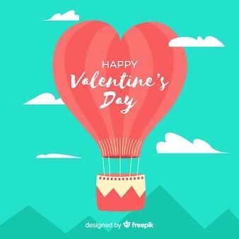 平らな熱気球バレンタイン背景