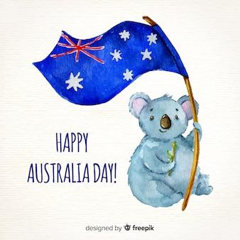 Акварель день австралии фон
