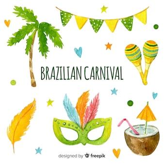 ブラジルのカーニバル要素の水彩画のコレクション