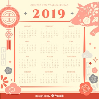 フラット要素の中国の旧正月のカレンダー
