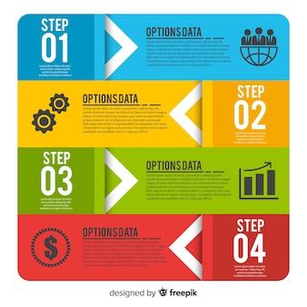 Концепция шагов инфографики в плоском стиле