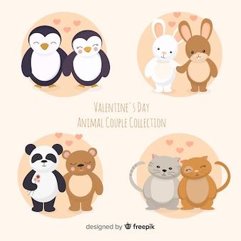 かわいいバレンタイン動物カップルコレクション