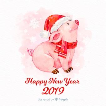 水彩豚旧正月の背景