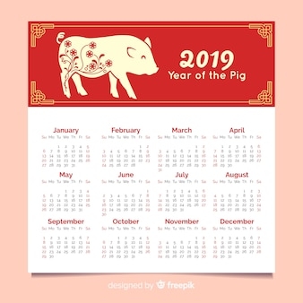 Простой свиной китайский новогодний календарь