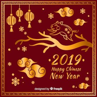 Золотой китайский новый год фон