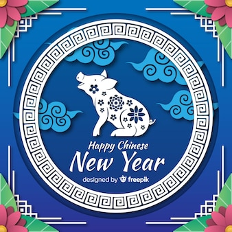 Свинья силуэт китайский новый год фон