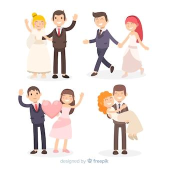 結婚式のカップルのキャラクターコレクション
