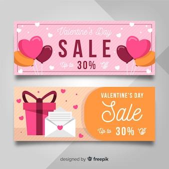 平らなバレンタイン要素販売バナー