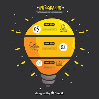インフォグラフィック手描き電球の背景