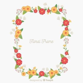 平らな花のフレームの背景