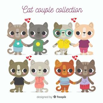 手描きバレンタイン猫カップルパック