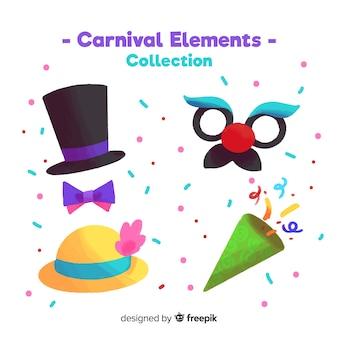 Коллекция акварельных карнавальных элементов
