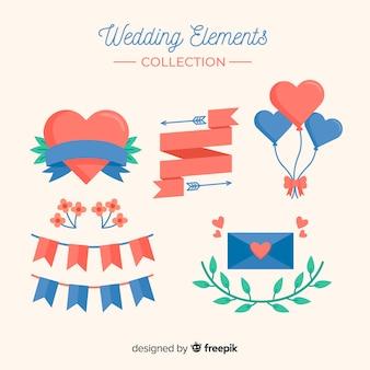 平らな結婚式の要素のコレクション