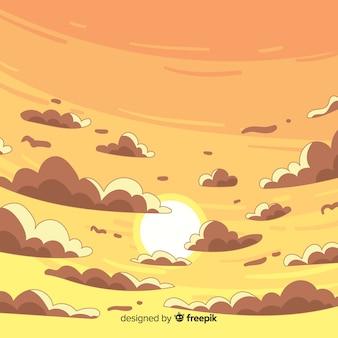 空の夕日を背景